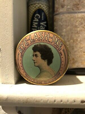 Antique Vintage original EYE-LASH-INE Ointment Remedy Lithograph tin dated 1916