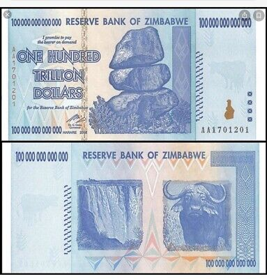 100 TRILLION DOLLARS ZIMBABWE BANKNOTE AA P-91 GEM Unc Note Currency 2008