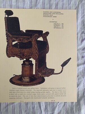 1912 KOCHS' Vintage Quarter-Sawed Golden Oak Reclining Barber Chair Sign Ad