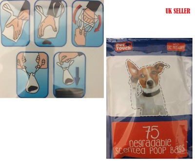 Pet Touch 75X Degradable Scented Doggy Bags TIE Handles Poo Poop Disposal Bags