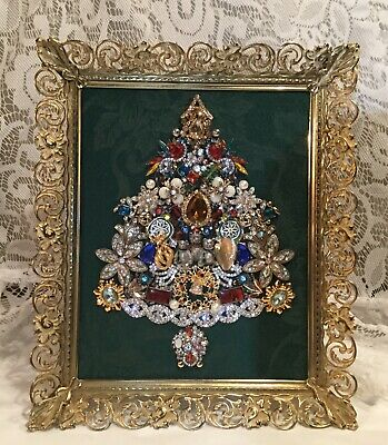 Vintage Mod Jewelry Christmas Tree Framed Picture