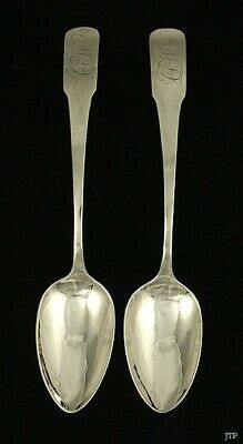 Pair American Coin Silver c1810 Serving Spoons