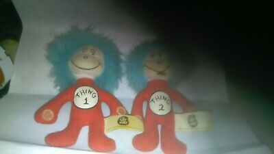 DR SUESS CAT IN THE HAT THING 1 & 2 PLUSH DOLLS  GOOD CONDITION. Five inch dolls
