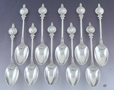 c1860 Great Antique set 10 American Coin Silver Medallion Coffee / Teaspoons