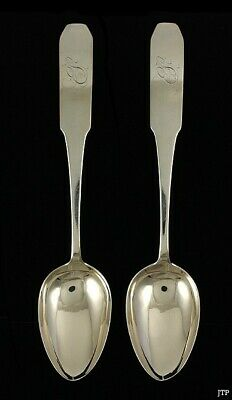 2 American Coin Silver Coffin End Tablespoons c1805