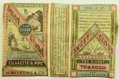 1870's Sweet Cloud Smoking Tobacco H. Wilkens Cigarette Pack Wrapper DB7