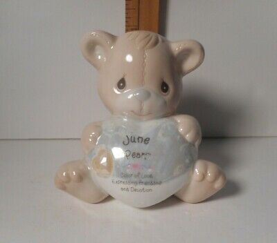 Precious Moments JUNE Birthstone BEAR  Bank -  Dated 1997 -  Retired
