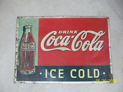 Vintage Drink Coca Cola Sign Ice Cold Embossed Xmas 1923 Bottle Graphic 27x19