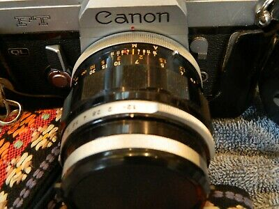 Canon FT QL 35mm Film Camera 55mm Lens & Cap Leather Case Strap VG Condition