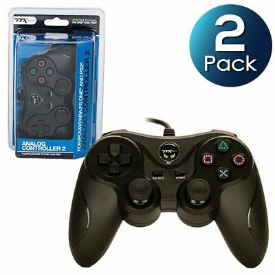 2x TTX Tech Wired Analog Controller For Sony PlayStation 1 & 2 PS1/PS2 Black