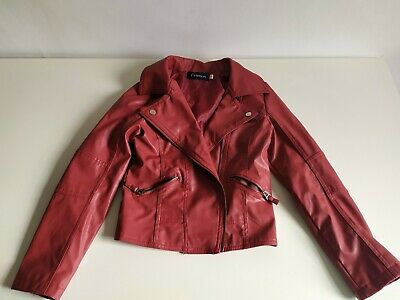 Cute light red faux leather jacket 10-12 yo great condition