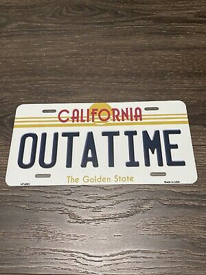 Back to the Future Delorean OUTATIME Car License Plate Cosplay Marty Mcfly Brown