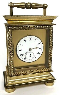 Lovely Chain Fusee Brass Carriage Clock With Enamel Dial And Second Dial