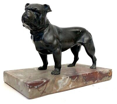 Lovely Antique Bronzed Spelter Figure Of A Bulldog / Mastiff On Marble Base