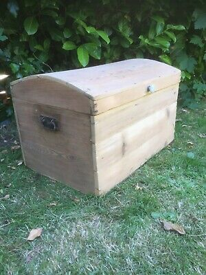 Antique Pine Trunk Domed Topped Trunk C1890 Stripped