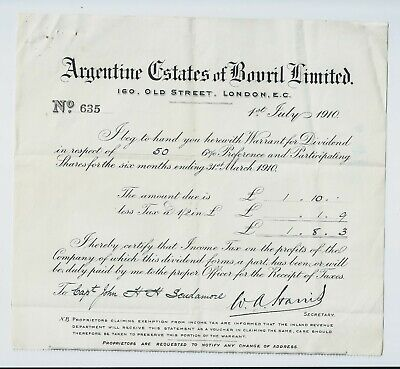 1910 Argentine Estates of Bovril Limited (warrant re 50 shares)