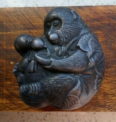 Antique Japanese Mixed Metal Box Figural Monkey Pouring Liquid From A Flask