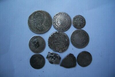 A66* LOT OF 10 SPANISH SILVER REALES YEARS 1600,s-1700,s INCLUDING SOME COBS