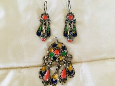 Berber, Kabyl, Ethnic, Tribal antique earrings and pendant from Africa