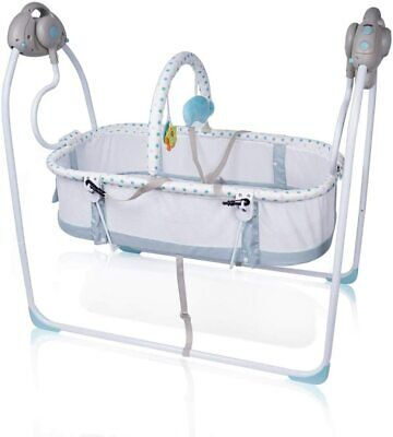 BLUE Electric Kids Baby Crib Cradle Infant Rocker wing Sleep Bed Cots Remote