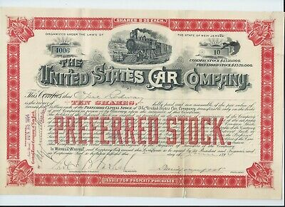 USA stock certificate 1894 United States Car Company #4006