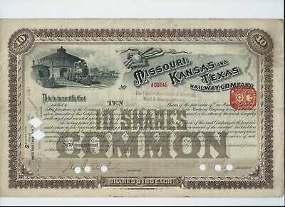 USA stock certificate - 1891 Missouri Kansas & Texas Railway