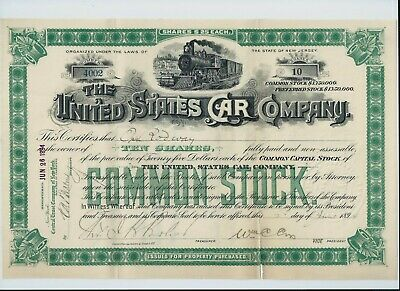 USA stock certificate 1894 United States Car Company #4002