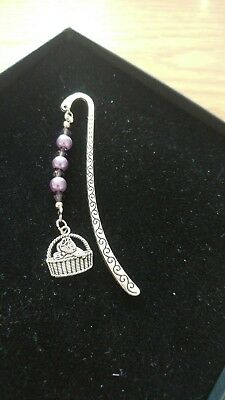 New Purple bookmark with cat charm