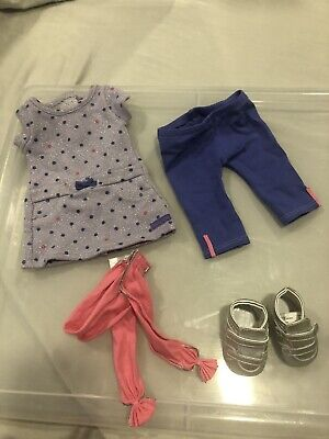 American Girl Doll Truly Me Recess Ready Outfit Dress Leggings Scarf Silver Shoe