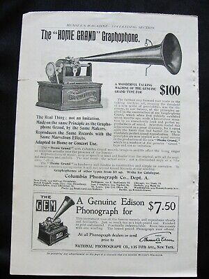 """1899Columbia""""HOME GRAND""""Graphophone&Edison""""GEM""""Phonograph Print Ads on Full Page"""