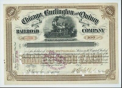 stock certificate USA 1896 Chicago Burlington & Quincy Railroad #17972