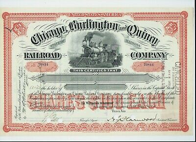 stock certificate USA 1901 Chicago Burlington & Quincy Railroad #70814
