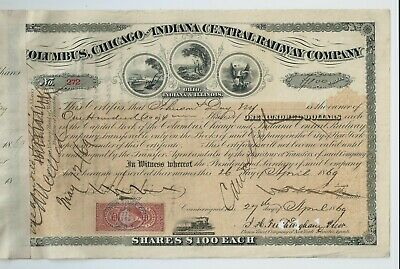 stock certificate USA 1869 Columbus Chicago & Indiana Central Railway