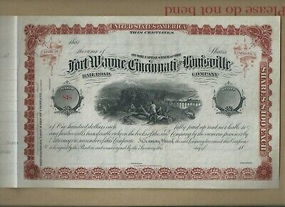USA stock certificate - 1880's Fort Wayne Cincinnati & Louisville RR (scarce)