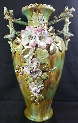 """19th Century French Majolica 20"""" Vase With Applied Flowers Butterflies Birds"""