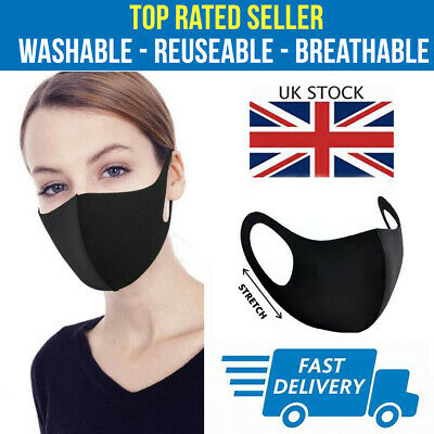 Face Mask UK Protective Reusable Washable Breathable Dust Pollution Allergies