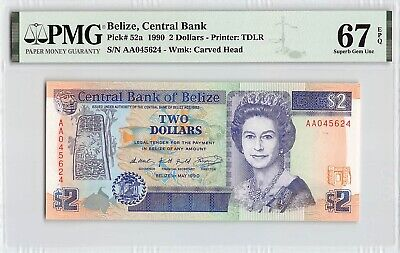 Belize 1990 P-52a PMG Superb Gem UNC 67 EPQ 2 Dollars *AA Prefix*