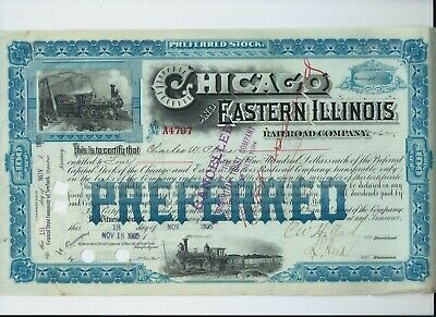 stock certificate USA 1905 Chicago & Eastern Illinois Railroad #A4797