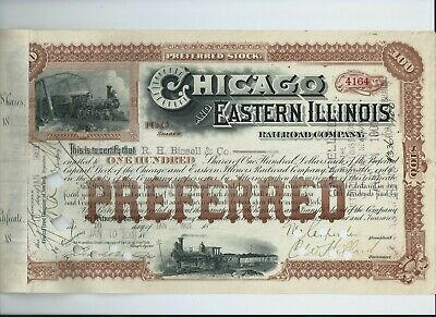 stock certificate USA 1901 Chicago & Eastern Illinois Railroad #4164