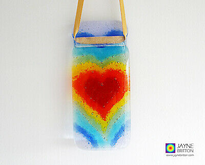 Fused glass Rainbow light catcher, rainbow heartscape suncatcher