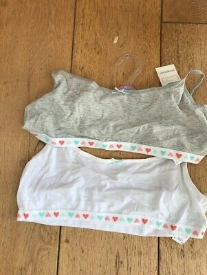 marks and spencer pack of 2 cotton crop top bras grey white heart 15 to 16 y bnw