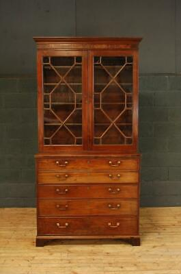 19th Century Regency Mahogany Library Glazed Secretaire Bookcase