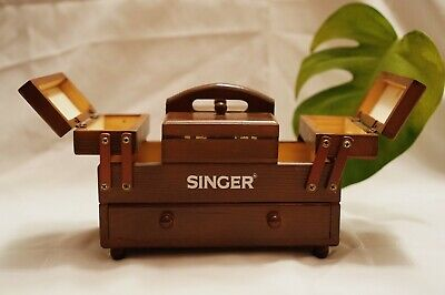 Vintage Antique Singer Wooden Accordion Fold-Out Sewing Box Organizer Carrier