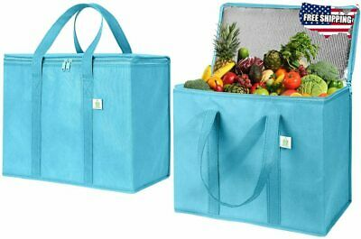 2 Pack Insulated Reusable Grocery Bag by VENO Durable  Heavy Duty Extra Large