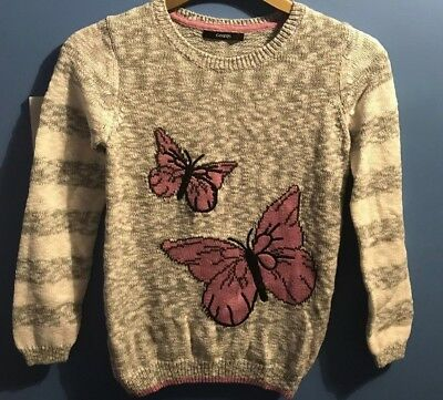 Girls Grey/White Butterfly Detail Jumper Age 1011