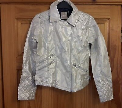 Nwt Stunning Girls Silver Faux Leather Biker Jacket By Next 13-14 Yrs