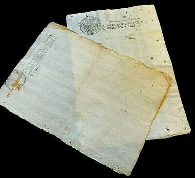 LOT OF TWO SPANISH PAPER 1810 - Royal Stamp Ferdinand VII