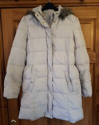 Worn Once Marks And Spencers Girls Hooded Winter Coat Age 13-14 Ivory/Beige