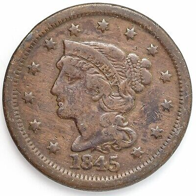 1845 Liberty Head Large 1¢ (Penny) Very Fine