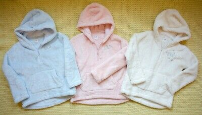 3 x GAP SOFT fleece hoodies pink / white / blue 6-7years VGC!